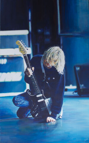 Kurt Cobain with guitar Painting by James Earley Artist