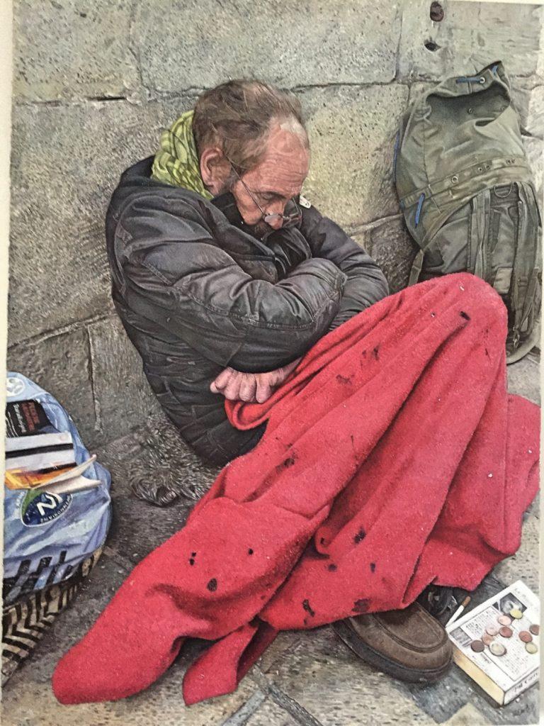 Homeless Man Carcassonne Oil Painting James Earley