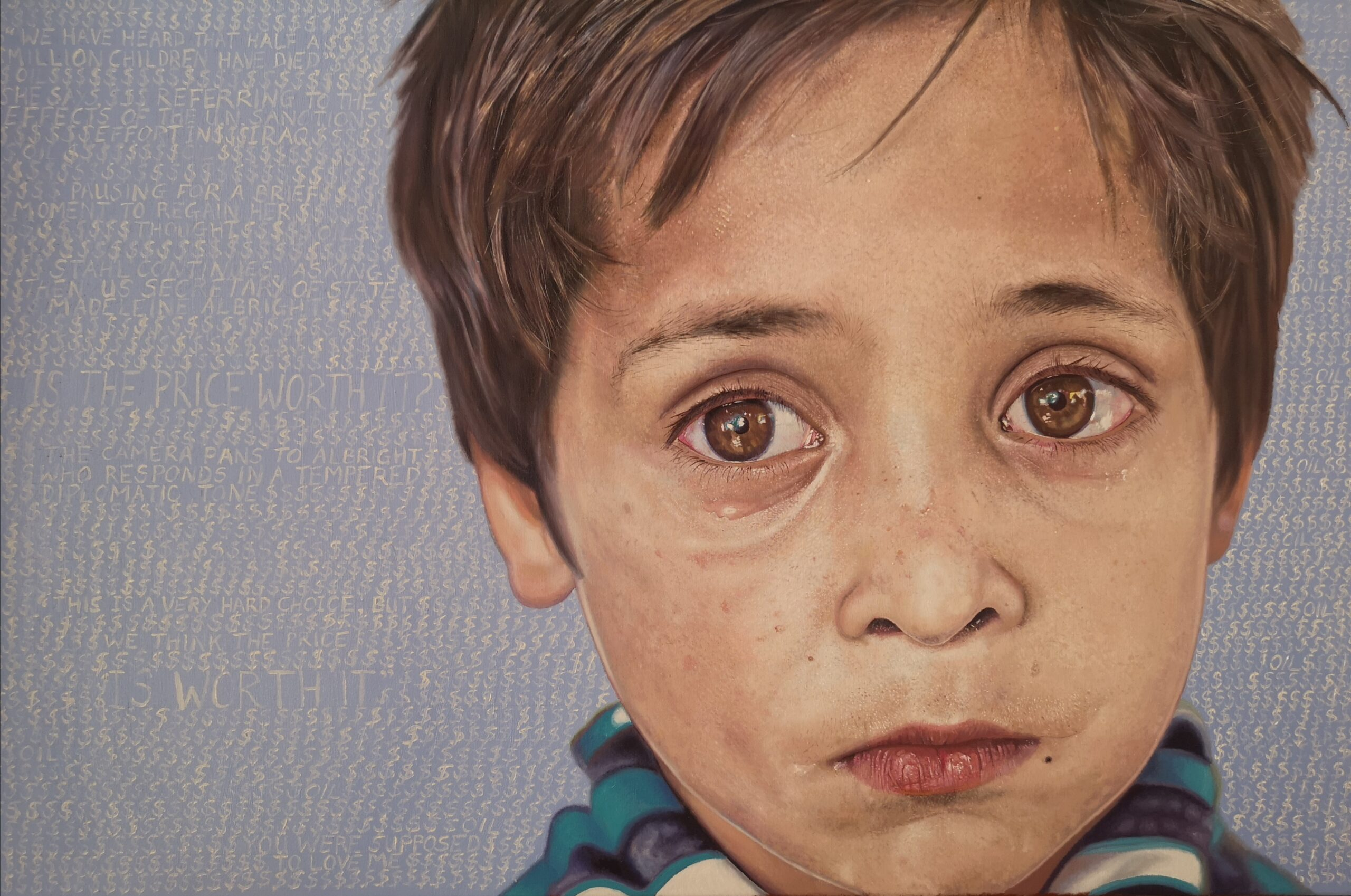 oil painting of Syrian refugee by James earley